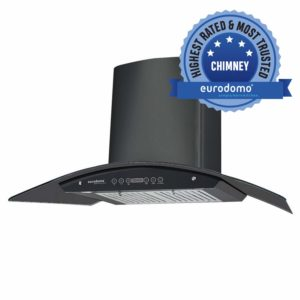 Eurodomo 90 cm 1200 m3:h Auto-Clean Chimney (Hood Classy HC BK 90, Black)​ sample