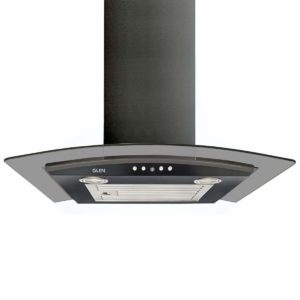 Glen 6071 EX Black Curved Glass Kitchen Chimney 60cm, Airflow 1000 m3:h​ sample