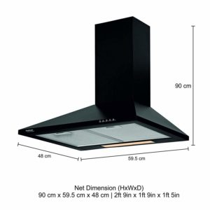 Hindware 60cm 700 m3:hr Chimney (Clarissa Black 60, 2 Cassette Filters, Black)​ sample