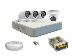 Hikvision Set Of 1+3 Dome And Bullet Cctv Camera With 4 Ch Dvr Along With Accessories sample
