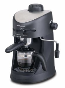 Morphy Richards New Europa 800-Watt Espresso and Cappuccino 4-Cup Coffee Maker (Black)  sample