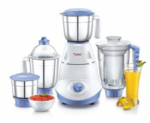 Prestige Iris(750 Watt) Mixer Grinder with 3 Stainless Steel Jar + 1 Juicer Jar, White and Blue