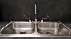 Kitchen stainless steel with faucet