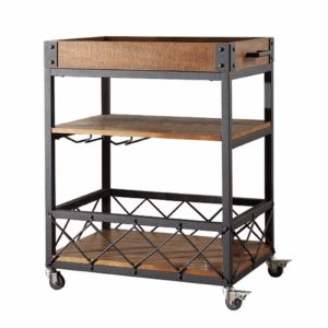 INDIAN DECOR 45471 Black 28'' Rectangular Kitchen Cart with MDF Wood Top and 3 Tiered Storage Area sample