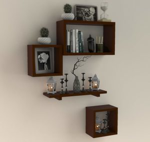 Fabulo Room Decor Wall Shelf with 4 Shelves Brown sample