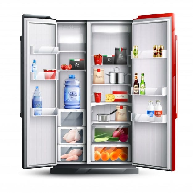 side by side door refrigerator