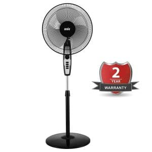 ANSIO High Speed Pedestal Fan with 2 Hour Timer 400 mm / 16 Inch | 100% Copper Motor with High Speed Performance - 120 Watts 2300 RPM (Black) ***2 Years... sample