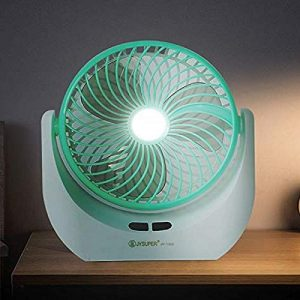 KLAY Led Light Multi Function Powerful Rechargeable Table Desk Fan - (MULTI COLOUR) Assorted sample